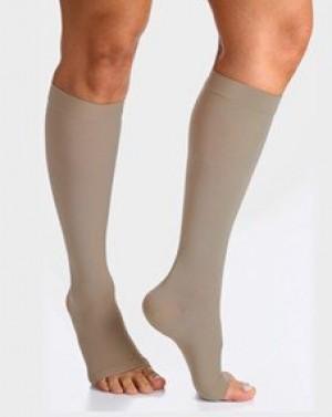 Meia compressão SIGVARIS Select Comfort Premium 20-30 mmHg panturrilha ponteira aberta cor natural tamanho Grande Normal