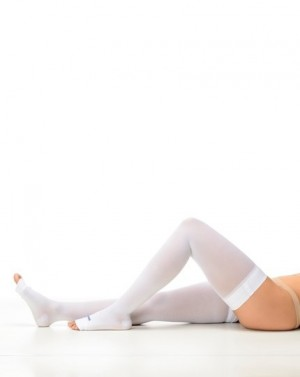 Meia Antitrombo Modelo Meia Coxa Aberta compressão 18-23 mmHgTamanho Médio cor Branco Estéril Sigvaris